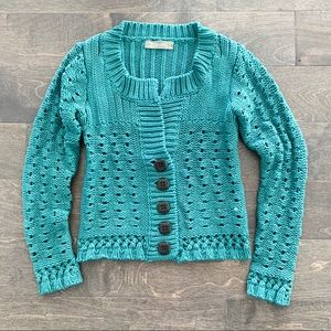 Zara Knit Button Down Teal Cardigan